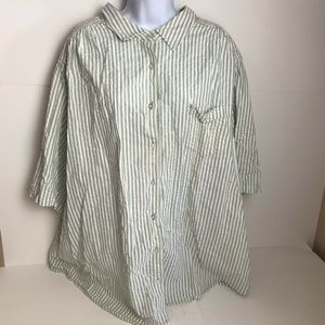 Woman Within Cotton Green Striped Shirt